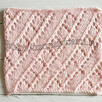 Ажурный узор спицами для тпа, жакета, схема узора