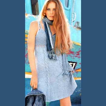 Вязание для женщин. Мини-платье с бюстье спицами