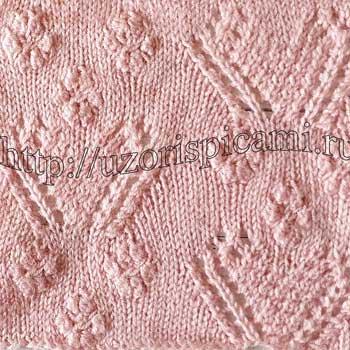 Красивый узор спицами Сердечки, схема узора