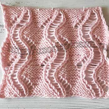 Красивый ажурный волнистый узор спицами, схема узора