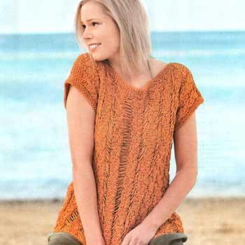 Вязание для женщин. Пуловер спицами со спущенными петлями и косами