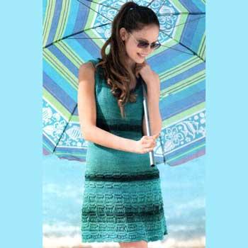 Вязание для женщин. Меланжевое мини-платье спицами