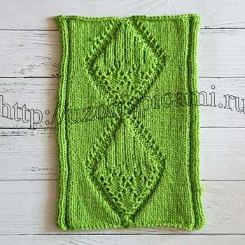 Красивый узор спицами для пуловера, топа, схема узора